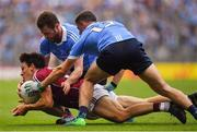 11 August 2018; Ian Burke of Galway is dispossessed by Jack McCaffrey and Brian Howard of Dublin during the GAA Football All-Ireland Senior Championship semi-final match between Dublin and Galway at Croke Park in Dublin.  Photo by Brendan Moran/Sportsfile