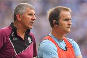 11 August 2018; Galway manager Kevin Walsh, left, with selector Brian Silke during the GAA Football All-Ireland Senior Championship semi-final match between Dublin and Galway at Croke Park in Dublin.  Photo by Brendan Moran/Sportsfile