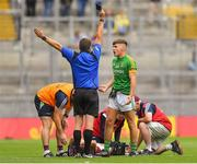 11 August 2018; Oisín McCloskey of Meath is shown a black card by referee Noel Mooney during the Electric Ireland GAA Football All-Ireland Minor Championship semi-final match between Galway and Meath at Croke Park in Dublin. Photo by Brendan Moran/Sportsfile