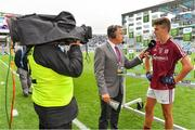 11 August 2018; Man of the Match Aidan Halloran of Galway is interviewed by Michéal O Domhnaill of TG4 after the Electric Ireland GAA Football All-Ireland Minor Championship semi-final match between Galway and Meath at Croke Park in Dublin. Photo by Brendan Moran/Sportsfile