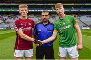 11 August 2018; Referee Noel Mooney with team-captains Conor Raftery of Galway, left, ad Matthew Costello of Meath prior to the Electric Ireland GAA Football All-Ireland Minor Championship semi-final match between Galway and Meath at Croke Park in Dublin. Photo by Brendan Moran/Sportsfile
