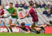 11 August 2018; Luke Kelly of Meath in action against Tony Gill of Galway during the Electric Ireland GAA Football All-Ireland Minor Championship semi-final match between Galway and Meath at Croke Park in Dublin. Photo by Brendan Moran/Sportsfile