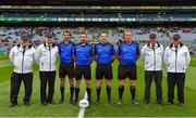 11 August 2018; Referee Noel Mooney and his match officials prior to the Electric Ireland GAA Football All-Ireland Minor Championship semi-final match between Galway and Meath at Croke Park in Dublin. Photo by Brendan Moran/Sportsfile