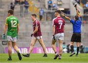 11 August 2018; Liam Judge of Galway is shown a black card by referee Noel Mooney during the Electric Ireland GAA Football All-Ireland Minor Championship semi-final match between Galway and Meath at Croke Park in Dublin. Photo by Brendan Moran/Sportsfile