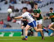 12 August 2018; Christopher Flood of Monaghan in action against Michael Lenihan of Kerry during the Electric Ireland GAA Football All-Ireland Minor Championship semi-final match between Kerry and Monaghan at Croke Park in Dublin. Photo by Ray McManus/Sportsfile