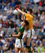 12 August 2018; Owen Fitzgerald of Kerry and goalkeeper Marc Kelliher in action against Karl Gallagher of Monaghan  during the Electric Ireland GAA Football All-Ireland Minor Championship semi-final match between Kerry and Monaghan at Croke Park in Dublin. Photo by Ray McManus/Sportsfile