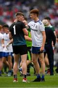12 August 2018; Goalkeeper Ryan Farrelly of Monaghan is comforted by his team mate Seán Jones after the Electric Ireland GAA Football All-Ireland Minor Championship semi-final match between Kerry and Monaghan at Croke Park in Dublin. Photo by Ray McManus/Sportsfile