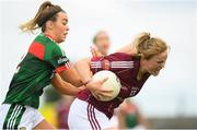 12 August 2018; Sarah Conneally of Galway in action against Emma Lowther of Mayo during the TG4 All-Ireland Ladies Football Senior Championship quarter-final match between Galway and Mayo at Dr. Hyde Park, in Roscommon. Photo by Eóin Noonan/Sportsfile