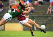 12 August 2018; Caitriona Cormican of Galway scores her side's first goal despite the efforts of Rachel Kearns of Mayo during the TG4 All-Ireland Ladies Football Senior Championship quarter-final match between Galway and Mayo at Dr. Hyde Park, in Roscommon. Photo by Eóin Noonan/Sportsfile