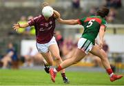 12 August 2018; Caitriona Cormican of Galway in action against Rachel Kearns of Mayo during the TG4 All-Ireland Ladies Football Senior Championship quarter-final match between Galway and Mayo at Dr. Hyde Park, in Roscommon. Photo by Eóin Noonan/Sportsfile