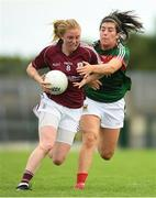 12 August 2018; Louise Ward of Galway in action against Rachel Kearns of Mayo during the TG4 All-Ireland Ladies Football Senior Championship quarter-final match between Galway and Mayo at Dr. Hyde Park, in Roscommon. Photo by Eóin Noonan/Sportsfile