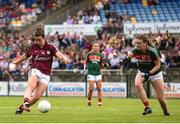 12 August 2018; Róisín Leonard of Galway scores her side's third goal despite the efforts of Rebecca O'Malley of Mayo during the TG4 All-Ireland Ladies Football Senior Championship quarter-final match between Galway and Mayo at Dr. Hyde Park, in Roscommon. Photo by Eóin Noonan/Sportsfile
