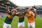 12 August 2018; Kerry players, from left, Paul Walsh, Dylan Geaney, and Marc Kelliher celebrate after the Electric Ireland GAA Football All-Ireland Minor Championship semi-final match between Kerry and Monaghan at Croke Park in Dublin. Photo by Piaras Ó Mídheach/Sportsfile