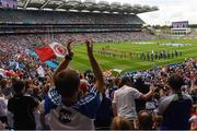12 August 2018; Monaghan and Tyrone players in the parade before the GAA Football All-Ireland Senior Championship semi-final match between Monaghan and Tyrone at Croke Park in Dublin. Photo by Piaras Ó Mídheach/Sportsfile