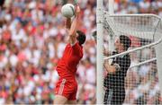 12 August 2018; Colm Cavanagh of Tyrone saves a shot ahead of team-mate Niall Morgan during the GAA Football All-Ireland Senior Championship semi-final match between Monaghan and Tyrone at Croke Park in Dublin. Photo by Brendan Moran/Sportsfile