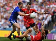 12 August 2018; Conor McManus of Monaghan in action against Mattie Donnelly and Padraig Hampsey of Tyrone during the GAA Football All-Ireland Senior Championship semi-final match between Monaghan and Tyrone at Croke Park in Dublin. Photo by Brendan Moran/Sportsfile