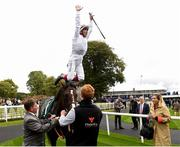 12 August 2018; Frankie Dettori celebrates after winning The Keeneland Phoenix Stakes with Advertise during Phoenix Stakes Day at the Curragh Races in Curragh, Kildare. Photo by Matt Browne/Sportsfile