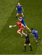 12 August 2018; Peter Harte of Tyrone in action against Monaghan players, left to right, Colin Walshe, Fintan Kelly, and Shane Carey, during the GAA Football All-Ireland Senior Championship Semi-Final match between Monaghan and Tyrone at Croke Park, in Dublin. Photo by Daire Brennan/Sportsfile