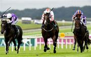 12 August 2018; Advertise, centre, with Frankie Dettori up, on their way to winning The Keeneland Phoenix Stakes from second place So Perfect, left, with Seamie Heffernan up, and third place The Irish Rover, right, with Donnacha O'Brien during Phoenix Stakes Day at the Curragh Races in Curragh, Kildare. Photo by Matt Browne/Sportsfile