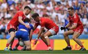 12 August 2018; Fintan Kelly of Monaghan in action against Tyrone players, from left, Mattie Donnelly, Michael McKernan and Niall Sludden  during the GAA Football All-Ireland Senior Championship semi-final match between Monaghan and Tyrone at Croke Park in Dublin. Photo by Brendan Moran/Sportsfile