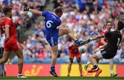 12 August 2018; Niall Morgan of Tyrone makes a save from Vinny Corey of Monaghan during the GAA Football All-Ireland Senior Championship semi-final match between Monaghan and Tyrone at Croke Park in Dublin. Photo by Brendan Moran/Sportsfile