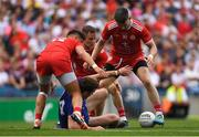 12 August 2018; Fintan Kelly of Monaghan in action against Tyrone players, from left, Michael McKernan, Mattie Donnelly, Niall Sludden during the GAA Football All-Ireland Senior Championship semi-final match between Monaghan and Tyrone at Croke Park in Dublin. Photo by Piaras Ó Mídheach/Sportsfile