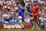 12 August 2018; Vinny Corey of Monaghan takes a shot on goal in the first half that was saved by Tyrone goalkeeper Niall Morgan, as Tiernan McCann looks on, during the GAA Football All-Ireland Senior Championship semi-final match between Monaghan and Tyrone at Croke Park in Dublin. Photo by Piaras Ó Mídheach/Sportsfile