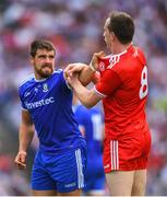 12 August 2018; Colm Cavanagh of Tyrone tussles with Drew Wylie of Monaghan during the GAA Football All-Ireland Senior Championship semi-final match between Monaghan and Tyrone at Croke Park in Dublin. Photo by Ramsey Cardy/Sportsfile