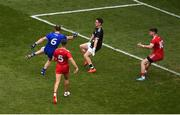 12 August 2018; Vinny Corey of Monaghan has his shot saved by Tyrone goalkeeper Niall Morgan during the GAA Football All-Ireland Senior Championship Semi-Final match between Monaghan and Tyrone at Croke Park, in Dublin. Photo by Daire Brennan/Sportsfile