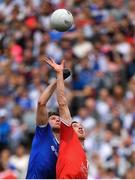 12 August 2018; Colm Cavanagh of Tyrone, right, and Darren Hughes of Monaghan contests a throw ball during the GAA Football All-Ireland Senior Championship semi-final match between Monaghan and Tyrone at Croke Park in Dublin. Photo by Brendan Moran/Sportsfile