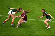 12 August 2018; Ailbhe Davoren of Galway in action against Aileen Gilroy of Mayo during the TG4 All-Ireland Ladies Football Senior Championship quarter-final match between Galway and Mayo at Dr. Hyde Park, in Roscommon. Photo by Eóin Noonan/Sportsfile