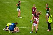 12 August 2018; Ailbhe Davoren of Galway is attended to by medical staff after falling awkwardly during the TG4 All-Ireland Ladies Football Senior Championship quarter-final match between Galway and Mayo at Dr. Hyde Park, in Roscommon. Photo by Eóin Noonan/Sportsfile
