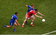 12 August 2018; Connor McAliskey of Tyrone in action against Drew Wylie, left, and Kieran Duffy of Monaghan during the GAA Football All-Ireland Senior Championship Semi-Final match between Monaghan and Tyrone at Croke Park, in Dublin. Photo by Daire Brennan/Sportsfile