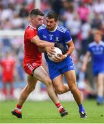 12 August 2018; Drew Wylie of Monaghan is tackled by Richard Donnelly of Tyrone during the GAA Football All-Ireland Senior Championship semi-final match between Monaghan and Tyrone at Croke Park in Dublin. Photo by Ramsey Cardy/Sportsfile