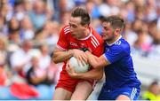 12 August 2018; Colm Cavanagh of Tyrone is tackled by Dermot Malone of Monaghan during the GAA Football All-Ireland Senior Championship semi-final match between Monaghan and Tyrone at Croke Park in Dublin. Photo by Ramsey Cardy/Sportsfile