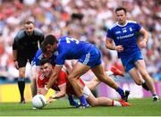 12 August 2018; Connor McAliskey of Tyrone in action against Karl O'Connell and Drew Wylie, right, of Monaghan during the GAA Football All-Ireland Senior Championship semi-final match between Monaghan and Tyrone at Croke Park in Dublin. Photo by Stephen McCarthy/Sportsfile