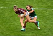 12 August 2018; Mairéad Seoighe of Galway in action against Róisín Flynn of Mayo during the TG4 All-Ireland Ladies Football Senior Championship quarter-final match between Galway and Mayo at Dr. Hyde Park, in Roscommon. Photo by Eóin Noonan/Sportsfile
