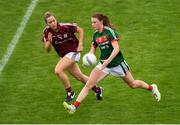 12 August 2018; Aileen Gilroy of Mayo in action against Caitriona Cormican of Galway during the TG4 All-Ireland Ladies Football Senior Championship quarter-final match between Galway and Mayo at Dr. Hyde Park, in Roscommon. Photo by Eóin Noonan/Sportsfile