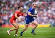 12 August 2018; Vinny Corey of Monaghan in action against Tiernan McCann of Tyrone during the GAA Football All-Ireland Senior Championship semi-final match between Monaghan and Tyrone at Croke Park in Dublin. Photo by Stephen McCarthy/Sportsfile