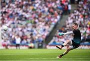 12 August 2018; Monaghan goalkeeper Rory Beggan kicks a free during the GAA Football All-Ireland Senior Championship semi-final match between Monaghan and Tyrone at Croke Park in Dublin. Photo by Stephen McCarthy/Sportsfile