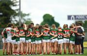 12 August 2018; Mayo players huddle after the TG4 All-Ireland Ladies Football Senior Championship quarter-final match between Galway and Mayo at Dr. Hyde Park, in Roscommon. Photo by Eóin Noonan/Sportsfile