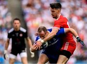12 August 2018; Vinny Corey of Monaghan in action against Mattie Donnelly of Tyrone during the GAA Football All-Ireland Senior Championship semi-final match between Monaghan and Tyrone at Croke Park in Dublin. Photo by Stephen McCarthy/Sportsfile