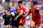 12 August 2018; Vinny Corey of Monaghan in action against Mattie Donnelly and Colm Cavanagh, right, of Tyrone during the GAA Football All-Ireland Senior Championship semi-final match between Monaghan and Tyrone at Croke Park in Dublin. Photo by Stephen McCarthy/Sportsfile