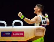 12 August 2018; Rhys McClenaghan of Ireland reacts after competing on the Pommel Horse in the Senior Men's Gymnastics final during day eleven of the 2018 European Championships in Glasgow, Scotland. Photo by David Fitzgerald/Sportsfile