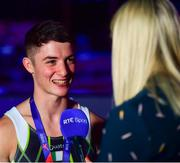 12 August 2018; Rhys McClenaghan of Ireland is interviewed by RTE after winning gold on the Pommel Horse in the Senior Men's Gymnastics final during day eleven of the 2018 European Championships in Glasgow, Scotland. Photo by David Fitzgerald/Sportsfile