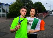 12 August 2018; Rhys McClenaghan of Ireland with girlfriend Rebecca Gilbert after winning gold on the Pommel Horse in the Senior Men's Gymnastics final during day eleven of the 2018 European Championships in Glasgow, Scotland. Photo by David Fitzgerald/Sportsfile