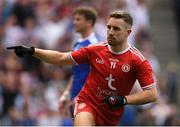 12 August 2018; Niall Sludden of Tyrone celebrates scoring his side's first goal during the GAA Football All-Ireland Senior Championship semi-final match between Monaghan and Tyrone at Croke Park in Dublin. Photo by Piaras Ó Mídheach/Sportsfile