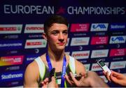 12 August 2018; Rhys McClenaghan of Ireland is interviewed by media after winning gold on the Pommel Horse in the Senior Men's Gymnastics final during day eleven of the 2018 European Championships in Glasgow, Scotland. Photo by David Fitzgerald/Sportsfile