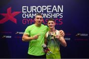 12 August 2018; Rhys McClenaghan of Ireland, right, with coach Luke Carson after winning gold on the Pommel Horse in the Senior Men's Gymnastics final during day eleven of the 2018 European Championships in Glasgow, Scotland. Photo by David Fitzgerald/Sportsfile