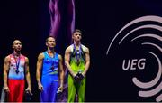 12 August 2018; Medallists, from right, stand for the Irish National Anthem, Rhys McClenaghan of Ireland, Saso Bertoncelj of Slovakia and Robert Seligman of Croatia after the Pommel Horse in the Senior Men's Gymnastics final during day eleven of the 2018 European Championships in Glasgow, Scotland. Photo by David Fitzgerald/Sportsfile